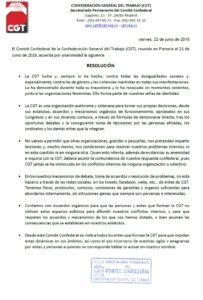 RESOLUCIÓN COMITÉ CONFEDERAL DE 21/06/18