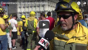 Video de la Concentración de los bomberos forestales en la Puerta del Sol de Madrid 10/07/2018