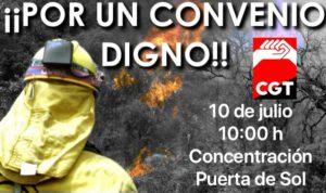 CONCENTRACIÓN BOMBEROS FORESTALES DE MADRID POR UN CONVENIO DIGNO