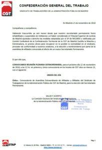 Convocatoria Plenaria para el lunes 12 de noviembre a las